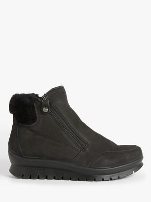 John Lewis & Partners Designed for Comfort Philippa Double Zip Fur Ankle Boots, Black
