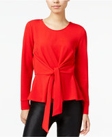 Bar III Tie-Front Peplum Top, Only at Macy's