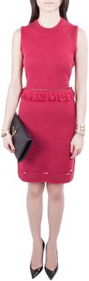 DSQUARED2 Wine Red Ribbed Knit Sleeveless Fringed Sheath Dress M