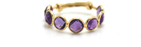Tresor Collection - Amethsyt Gemstone Ring Band In 18K Yellow Gold