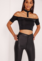 Missguided Choker Neck Ring Trim Bardot Crop Black