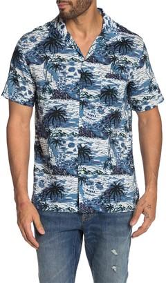 John Varvatos Skip Tropical Print Slim Fit Hawaiian Shirt