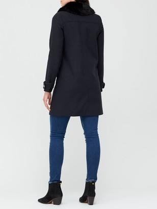 Very Zip Faux Fur Collar Coat - Navy
