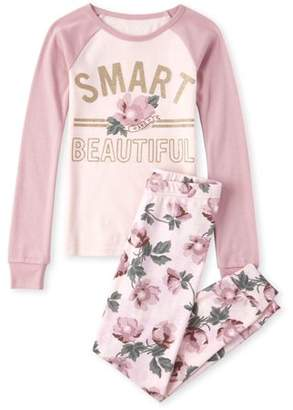 Children's Place The Long sleeve floral printed 'smart' 'beautiful' 2 piece pajama set (little girls & big girls)