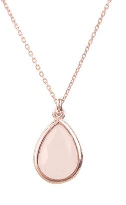 Rosegold Pisa Mini Teardrop Necklace Rose Quartz