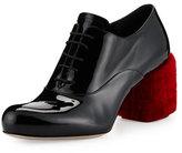 Miu Miu Shearling Fur-Heel Patent Oxford, Nero/Rosso