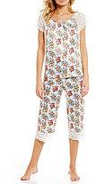 Cabernet Lace-Trimmed Floral Satin Pajamas