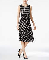 Charter Club Petite Printed Belted Fit & Flare Dress, Created for Macy's