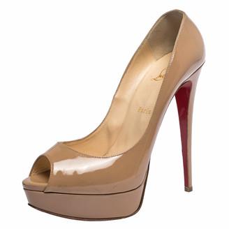 Christian Louboutin Beige Patent Leather Lady Peep Toe Platform Pumps Size 41
