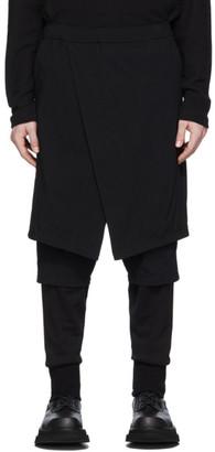 Julius Black Contrast Layered Trousers