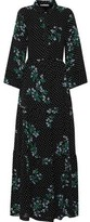 Ganni Rometty Gathered Floral-print Georgette Maxi Dress