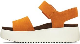 Clarks Botanic Strap Leather Wedge Sandal - Amber