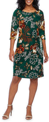 Robbie Bee 3/4 Sleeve Floral Leaf Sheath Dress-Petite