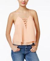 GUESS Zahara Lace-Up Layered Top