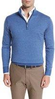 Peter Millar Striped Wool Quarter-Zip Sweater, Hawaiian Blue