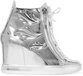 Giuseppe Zanotti Embellished metallic leather wedge sneakers