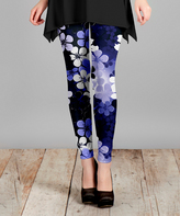 Lily Purple Floral Slim-Fit Pants - Plus Too