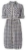 Dorothy Perkins Womens **Tall Navy And White Gingham Check Tie Shirt Dress- Blue