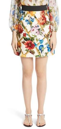 Dolce & Gabbana Bamboo Print Wool & Silk Skirt