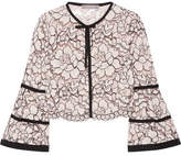 Lela Rose Grosgrain-trimmed Corded Lace Jacket - Pastel pink