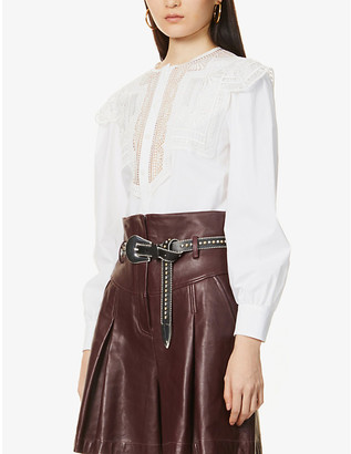 Alberta Ferretti Embroidered-lace stretch-cotton blouse