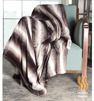 "Luxe Faux Fur FAUX FUR HEATED THROW 50""X60"" - BROWN/WHITE"