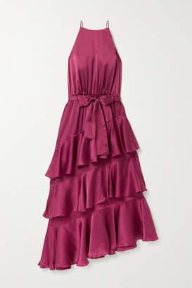 Zimmermann Tiered Ruffled Silk-satin Midi Dress