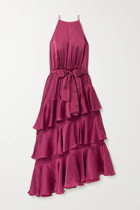 Zimmermann Tiered Ruffled Silk-satin Midi Dress - Plum