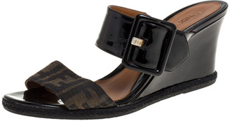 Fendi Black Patent Leather and Tobacco Zucca Canvas Demi Wedge Slides Size 41