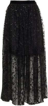 Claudie Pierlot Embellished Embroidered Tulle Midi Skirt