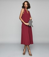 Reiss Viola - Layered Midi Dress in Berry