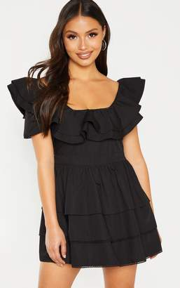 PrettyLittleThing Petite Black Square Neck Tiered Frill Dress