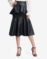 Express En Saison High Waisted Vegan Leather Ruffle Midi Skirt
