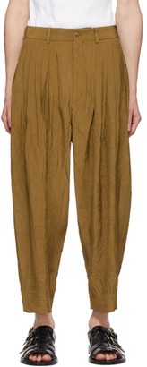 Hed Mayner Brown 24 Pleat Trousers