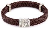 John Hardy Silver charm double braided leather bracelet