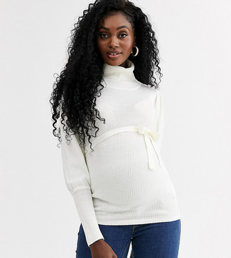 Mama Licious Mamalicious roll neck jumper with full sleeves