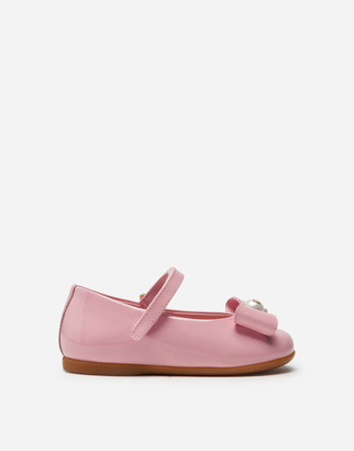 Dolce & Gabbana Mary Jane Ballerina Shoes In Patent Leather With Bow