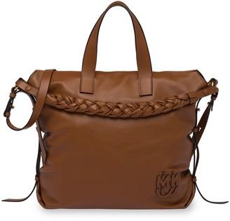 Miu Miu Braided-Handle Leather Tote Bag
