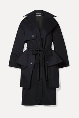 Jacquemus Le Manteau Bagli Belted Herringbone Cotton Trench Coat - Midnight blue