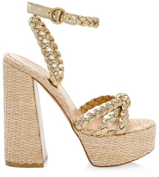 Gianvito Rossi Braided Metallic Leather Platform Sandals