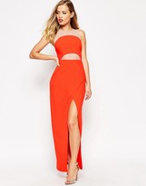 Asos Mesh Cut Out Color Clash Maxi Dress