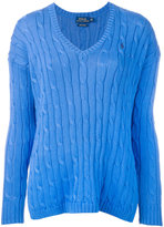 Polo Ralph Lauren cable knit V-neck sweater - women - Cotton - S