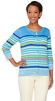 As Is Liz Claiborne New York Multi Stripe 3/4 Sleeve Cardigan