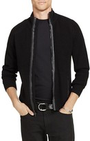 Polo Ralph Lauren Merino Wool Leather Trim Zip Cardigan