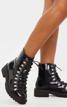 PrettyLittleThing Black Cleated Sole Hiker Eyelet Ankle Boot