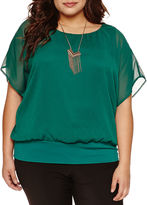 Alyx Short Sleeve Banded Bottom Blouse with Necklace-Plus