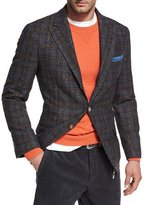 Brunello Cucinelli Glen Plaid Virgin Wool Sport Jacket, Dark Gray