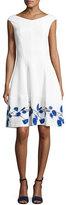 Talbot Runhof Mojag Watercolor Tulip Cap-Sleeve Dress, White