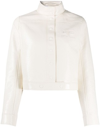 Courreges Leather-Effect Cropped Jacket