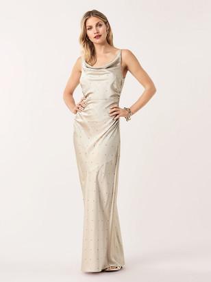 Diane von Furstenberg Eden Soft Satin Swarovski Cowl Neck Gown